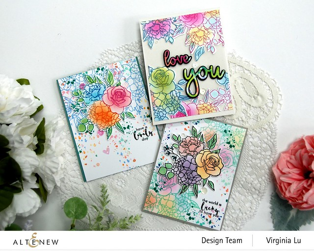 0704-2021-Altenew-InkyBouquet Stamp & Die Bundle-Inky Bouquet Simple Coloring Stencil -All About You Word Die Set -Rainbow Blots 6x6 Paper Pack -003