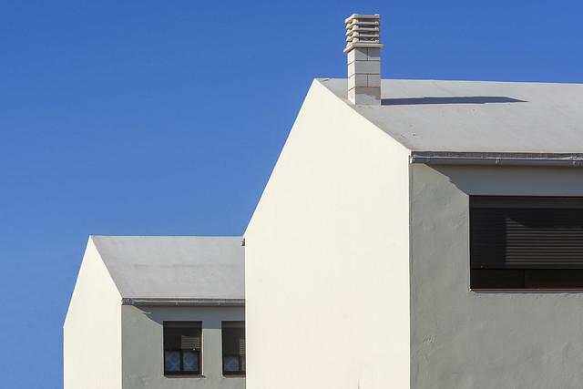 Two white houses