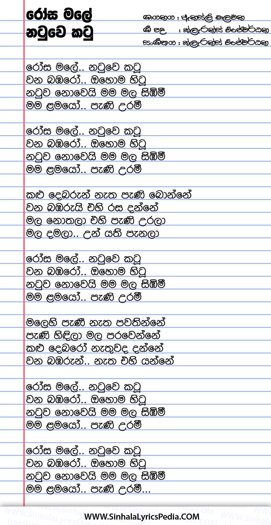 Rosa Male Natuwe Katu Song Lyrics