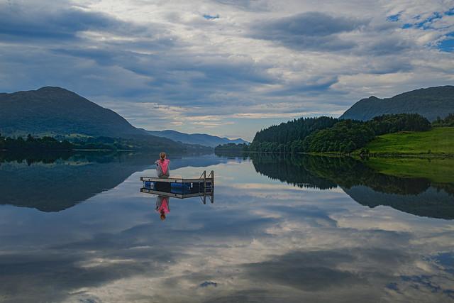 Vatsvatnet, Norway (Composite: Woman added) (Explored)