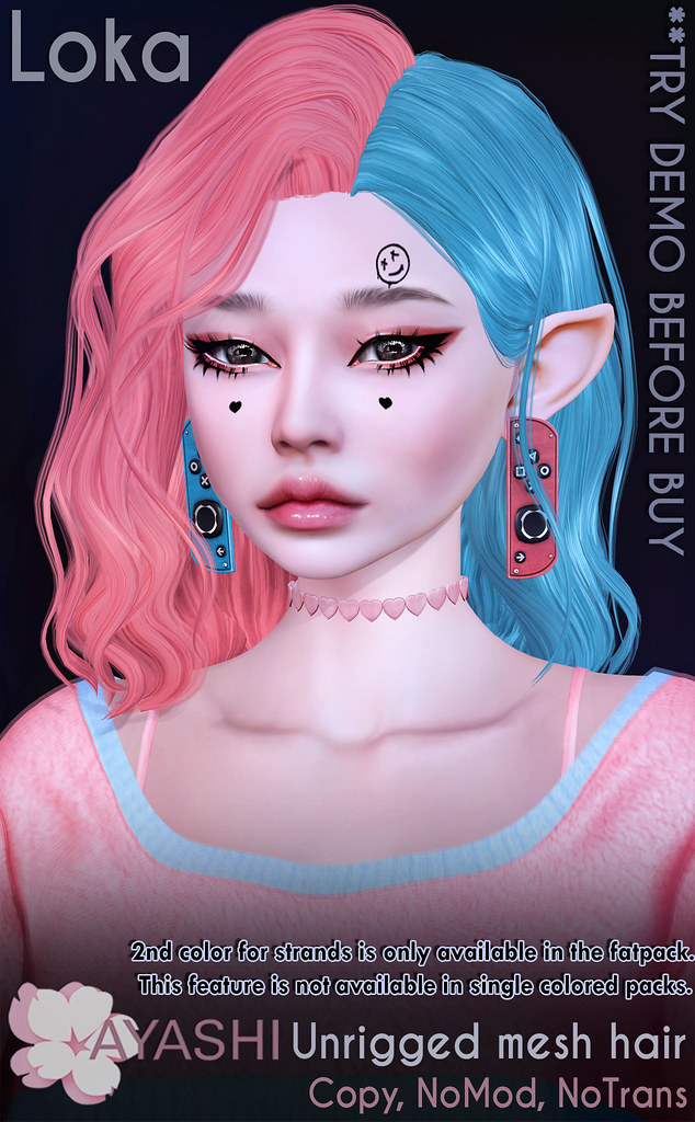 [^.^Ayashi^.^] Loka hair & earrings and face tatoo  special for FaMESHed