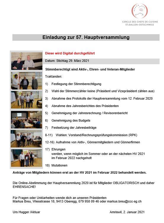 57. Hauptversammlung 29. März 2021