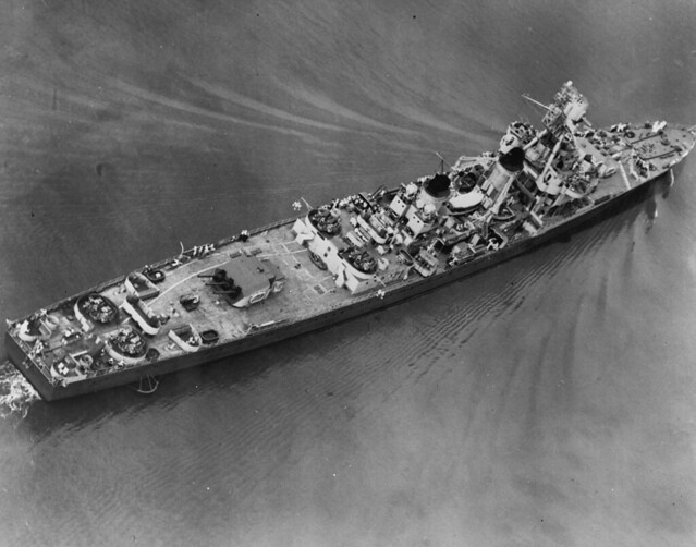 French Cruiser  Montcalm Off the Philadelphia Navy Yard, Pennsylvania, 26 July 1943. She had just been refitted by that yard, receiving American 40mm and 20mm guns, radar, and other modifications.