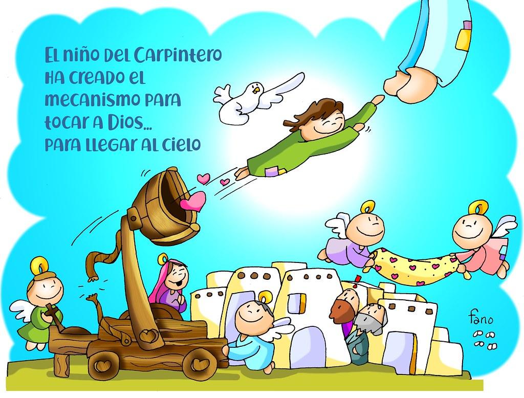 El niño del carpintero ha creado el mecanismo para llegar a Dios para tocar el cielo