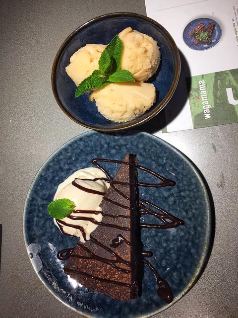 Orange chocolate cake and ice cream