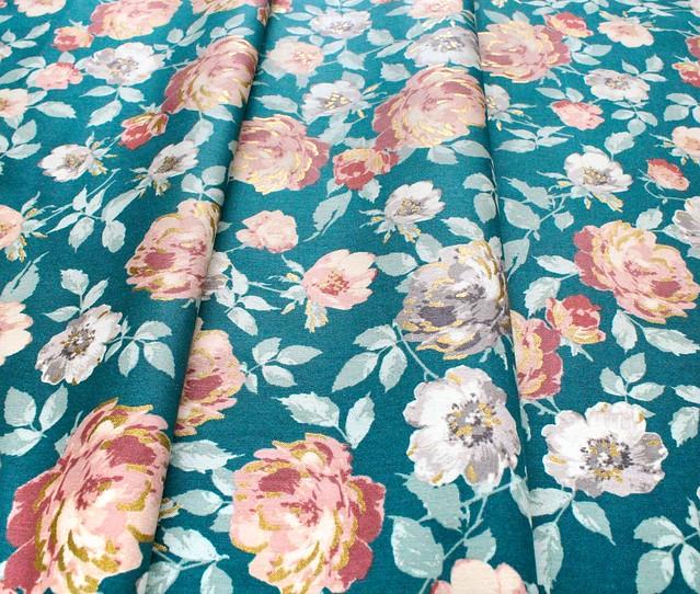 RJR Fabrics Summer Rose PS200-FO1M Lorraine Forest Metallic