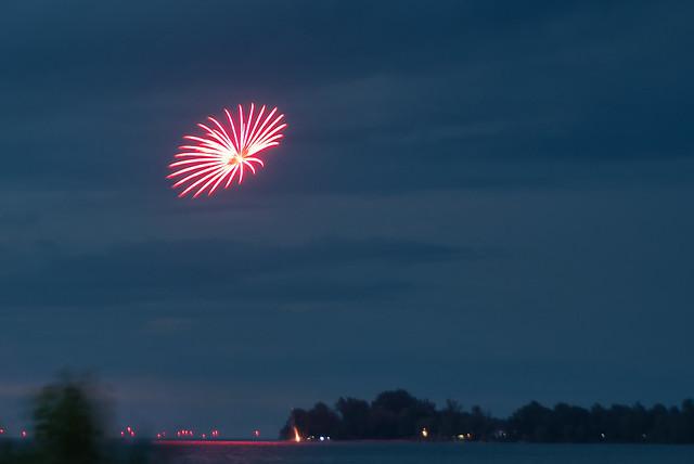Solitary Fireworks Burst