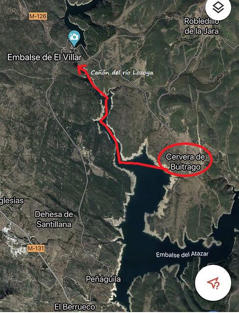 Mapa de la ruta realizada en kayak en el embalse de El Atazar hasta la presa de El Villar (Sierra Norte de Madrid)