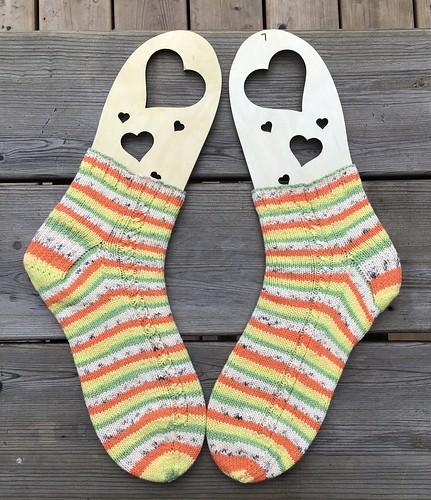 Patti (@patnelann) finished a pair of The Entwine Socks by Eric Lutz using Regia cotton Tutti Frutti.