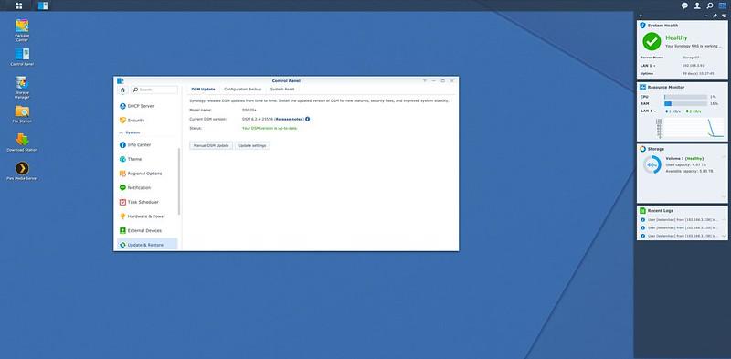 DSM 6.2.4 - Control Panel - Update And Restore