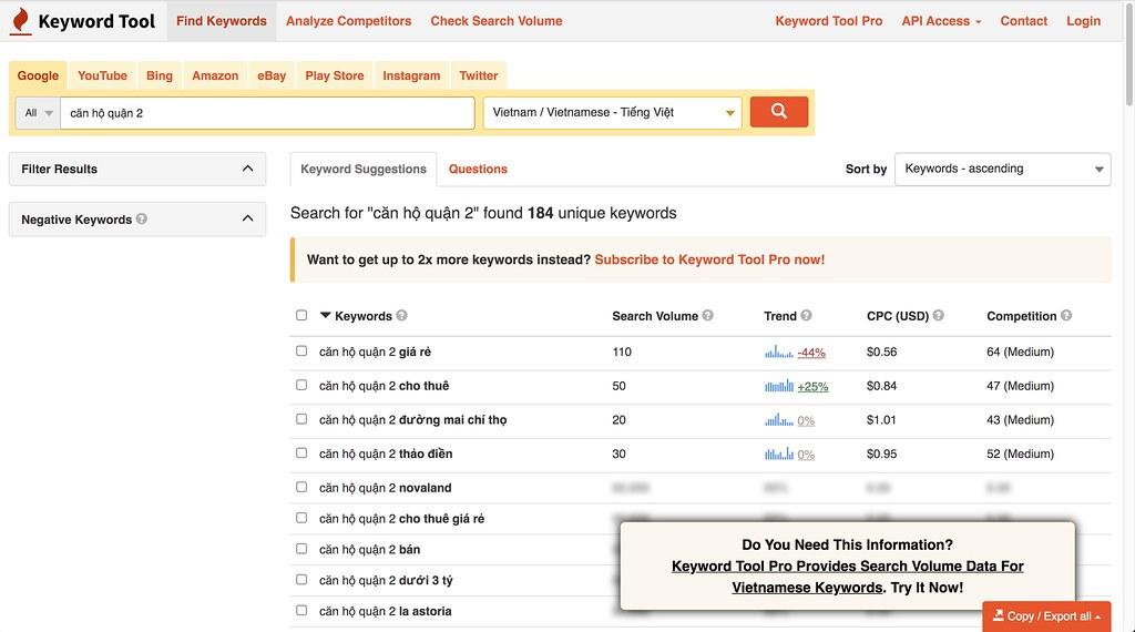 công cụ nghiên cứu từ khoá Keyword Tool