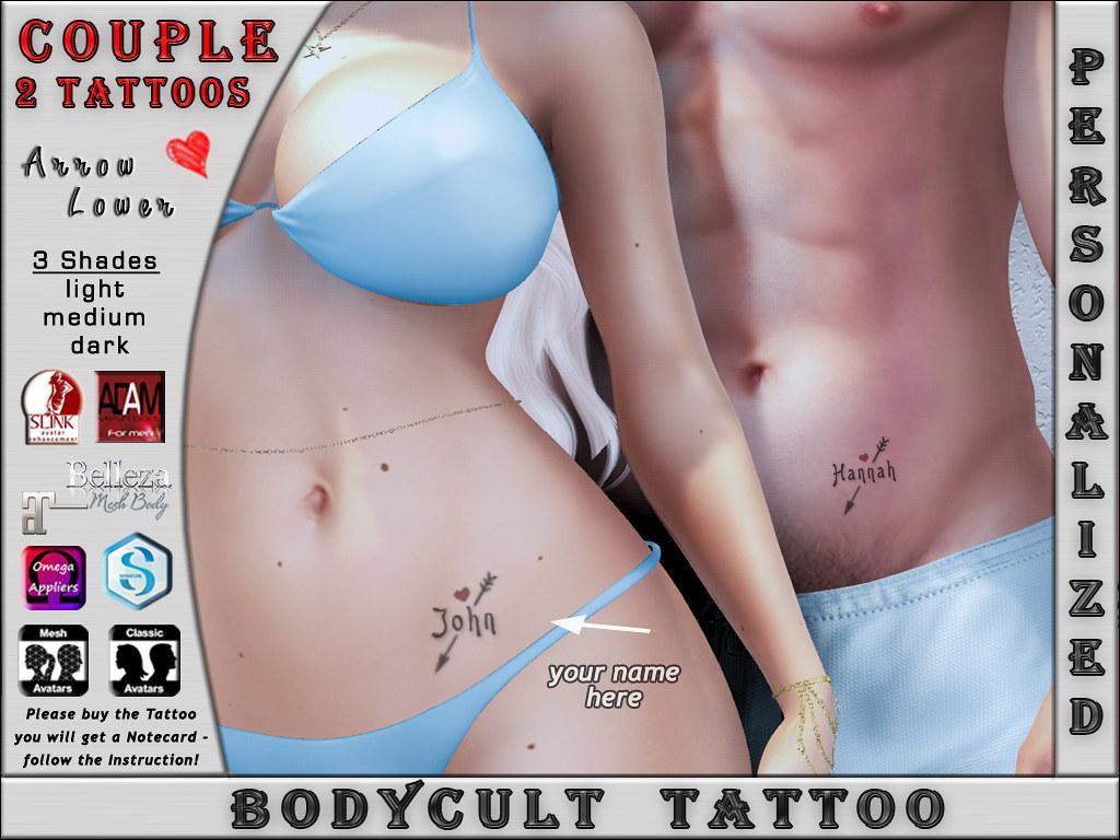 BodyCult Custom Tattoo COUPLE Arrow Lower – 2 TATTOO