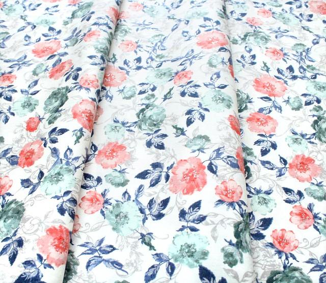 RJR Fabrics Summer Rose PS201-PA2M Marietta Papaya Metallic