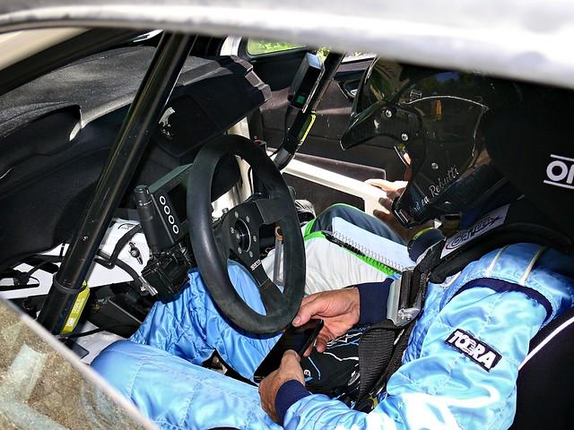 interno auto 134 Peugeot 208 dalla parte del pilota Rebutti Andrea
