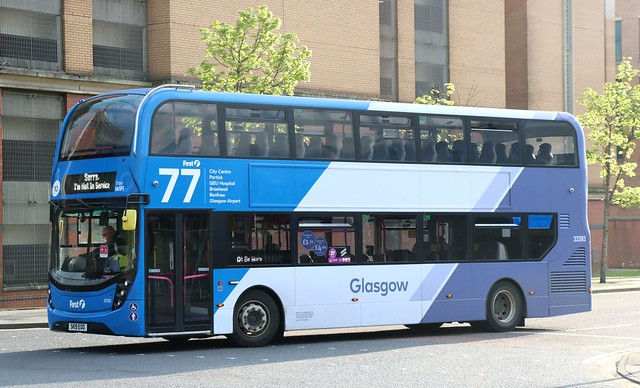 First Glasgow 33393 SK19EOD runs 'out of service' at the end of the days duties.