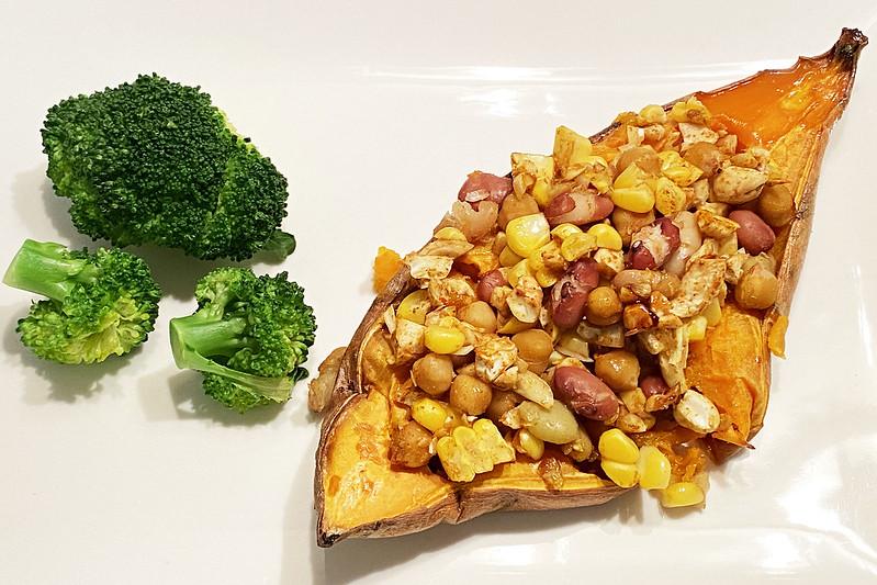 Sweet potato stuffed with beans, corn, and cashews