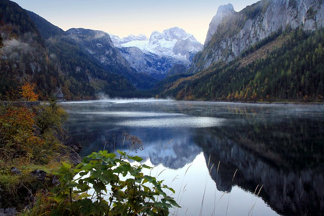 Tranquil autumn morning on the alpine lake