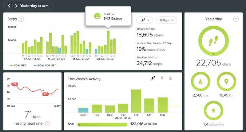 FitBIt stats as at Sunday 04 July 2021