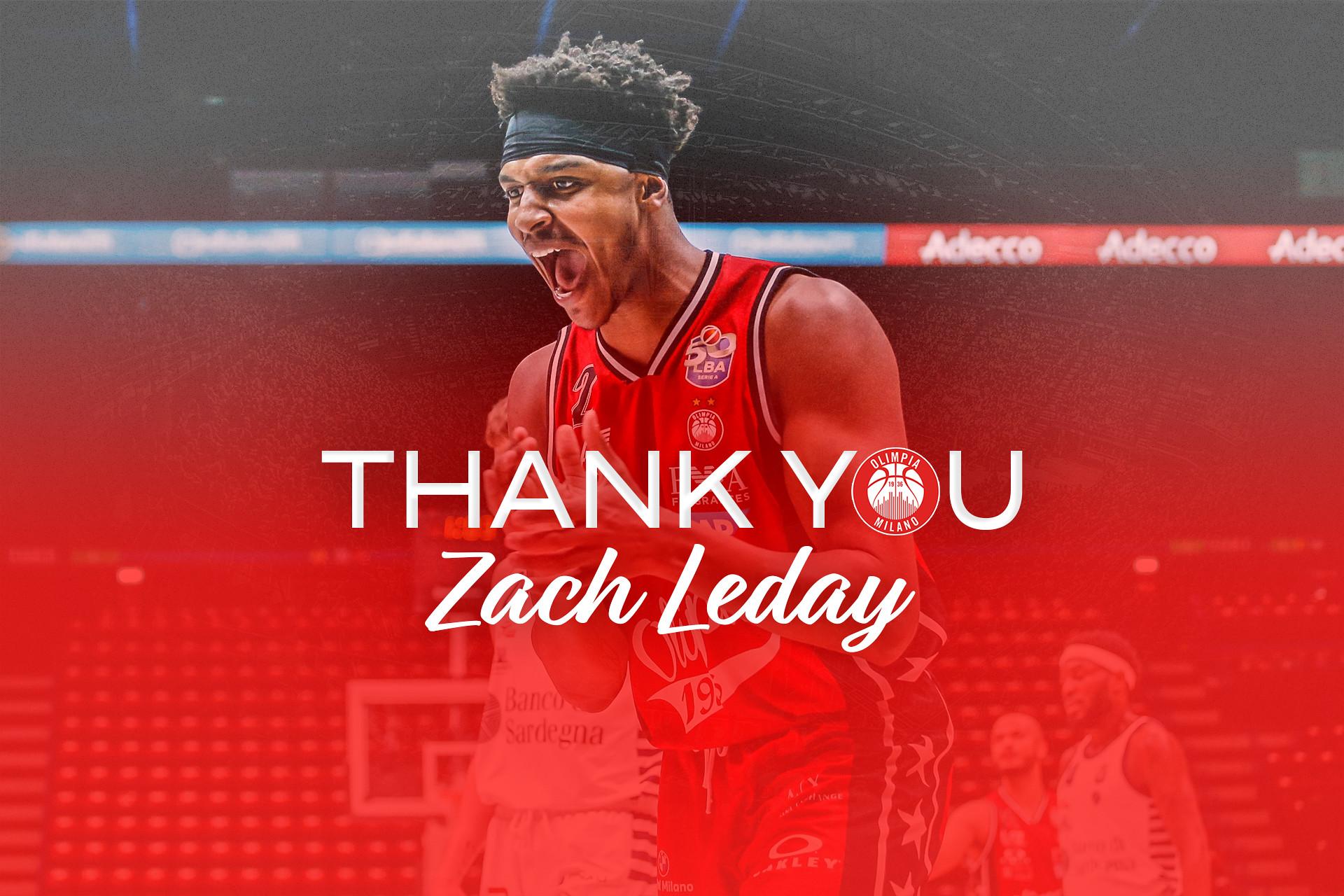 L'Olimpia Milano ringrazia e saluta Zach LeDay