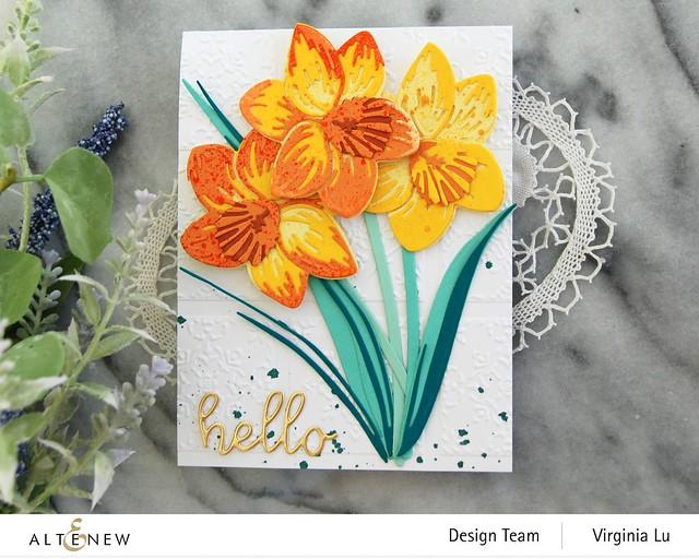 Altenew-CAF Daffodil-DreamTiles 3D Embossing Folder-All AboutYou Word Die Set-SummerAfternoonGradientCardstock-Seashore Gradient Cardstock -004