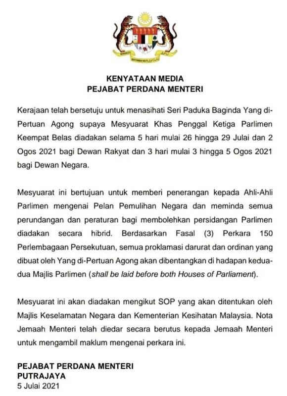Sidang Khas Parlimen Mulai 26 Julai &Amp; Dewan Negara 3 0Gos – Pejabat Perdana Menteri