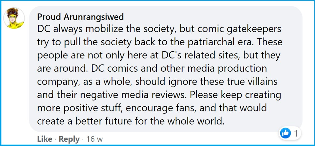 Arunrangsiwed comment for Wonder Woman Anniversary