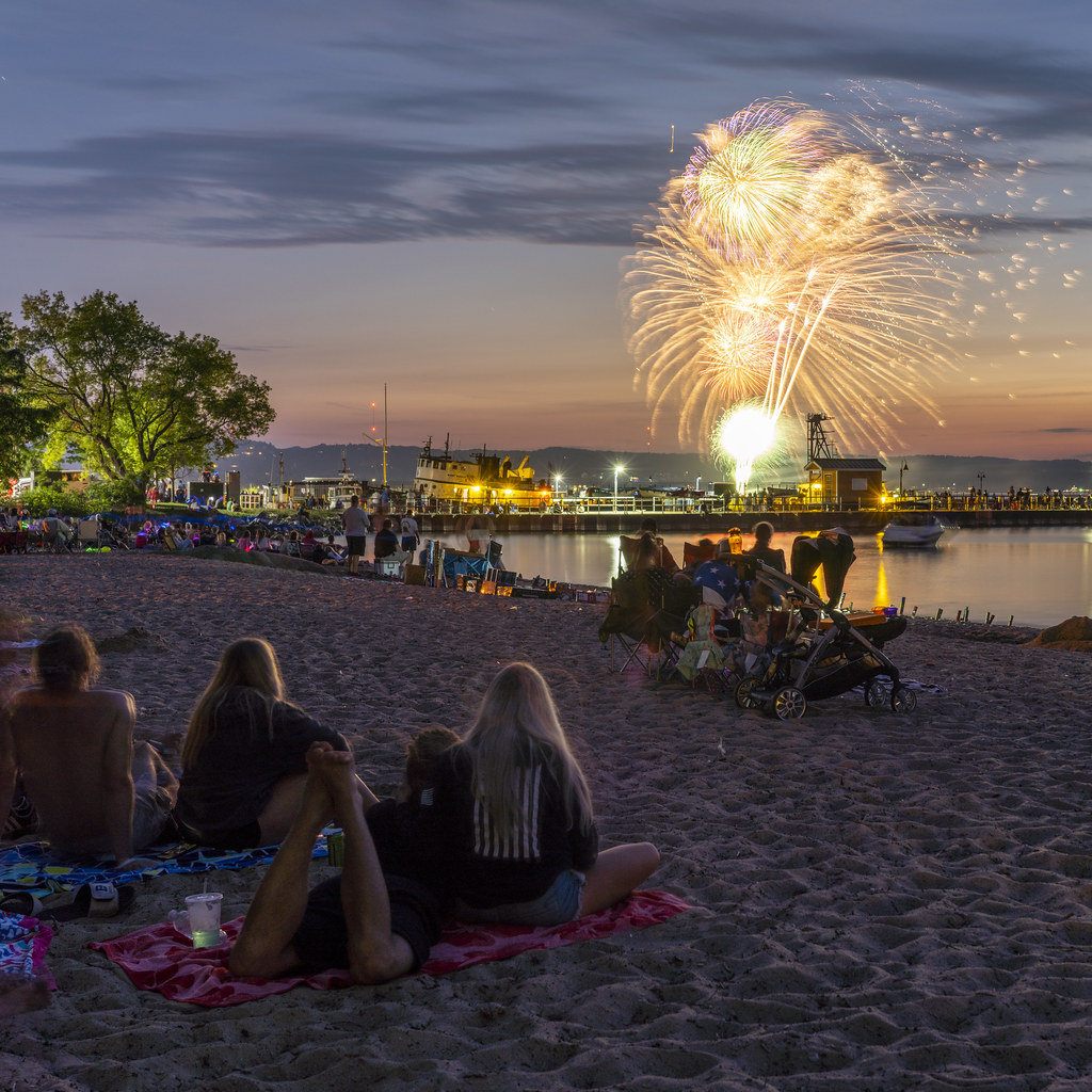 Watching Fireworks from the Beach