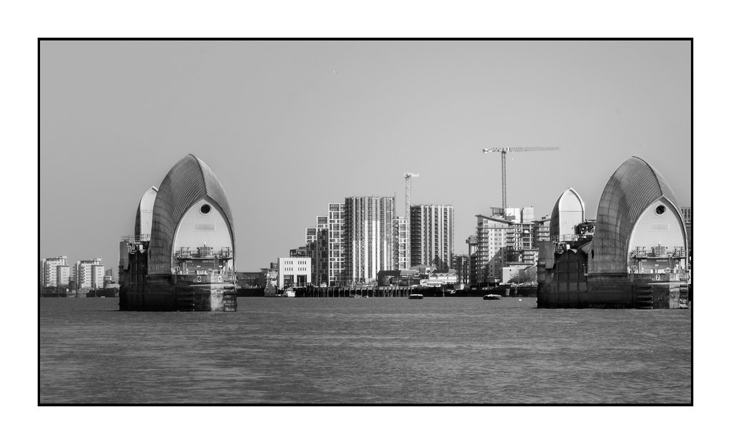 Clear Skies over the Thames Barrier and Woolwich