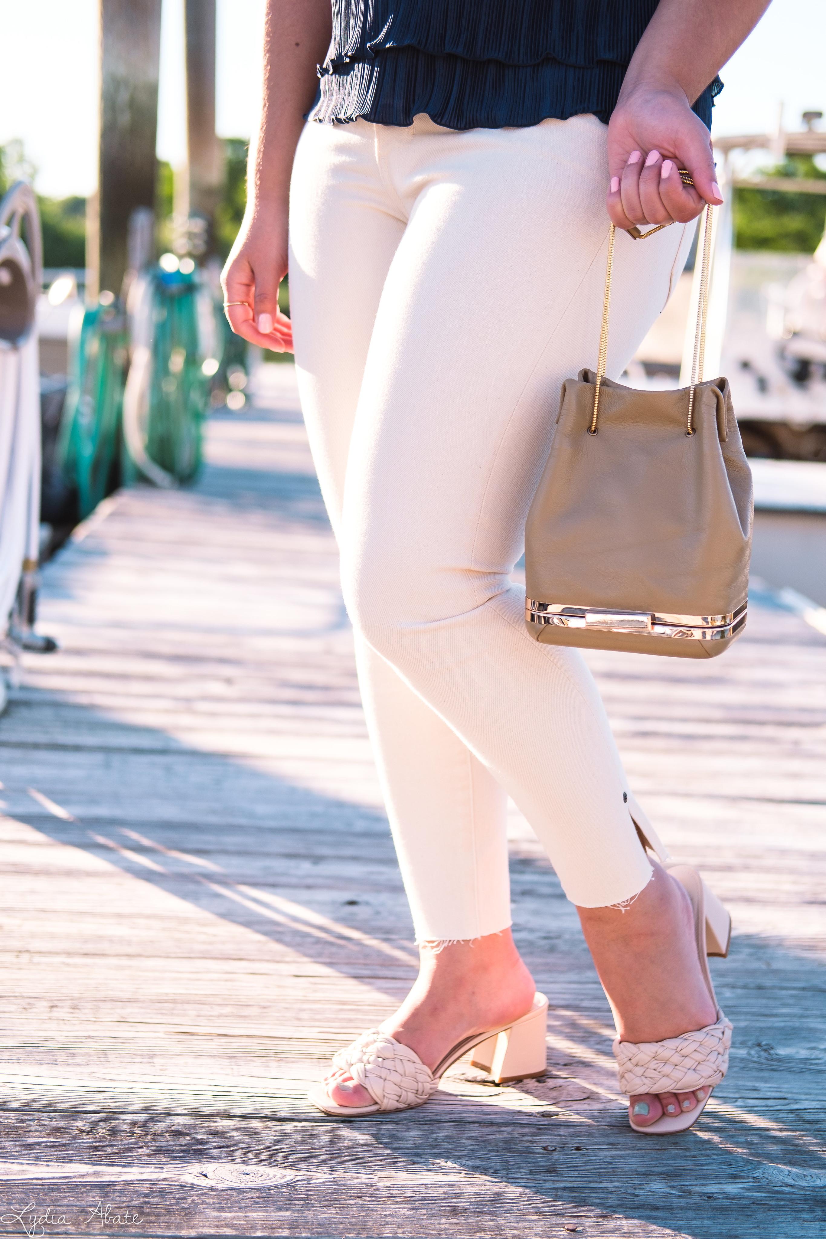 navy off the shoulder top, cream jeans, woven sandals-14.jpg