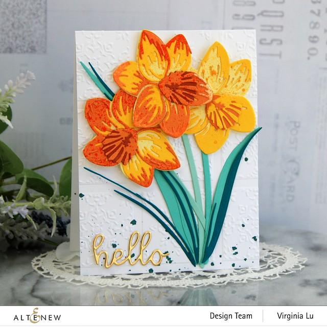 Altenew-CAF Daffodil-DreamTiles 3D Embossing Folder-All AboutYou Word Die Set-SummerAfternoonGradientCardstock-Seashore Gradient Cardstock
