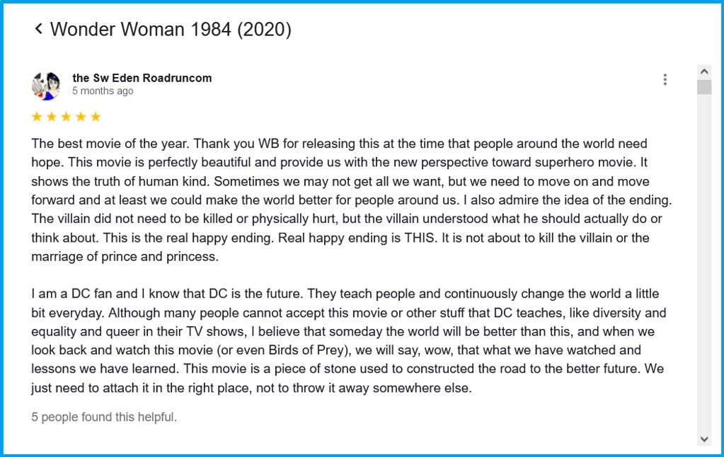 Arunrangsiwed comment for Wonder Woman 1984