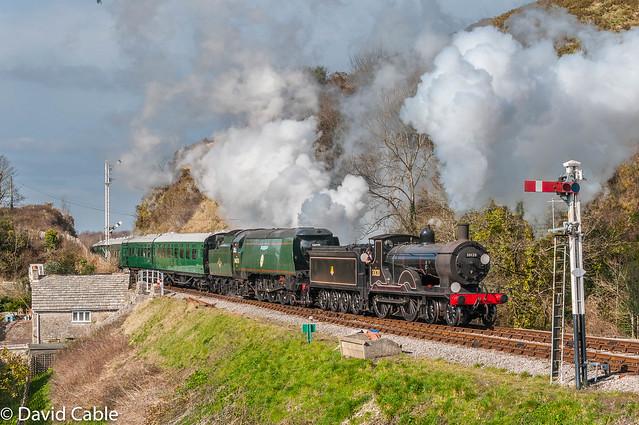 30120 and 34007 Wadebridge coming into Corfe Castle