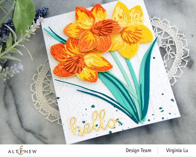 Altenew-CAF Daffodil-DreamTiles 3D Embossing Folder-All AboutYou Word Die Set-SummerAfternoonGradientCardstock-Seashore Gradient Cardstock -002