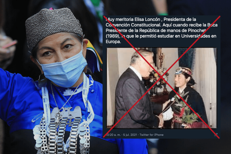 Es falso que la adolescente mapuche que fue fotografiada dándole la mano a Augusto Pinochet sea Elisa Loncón