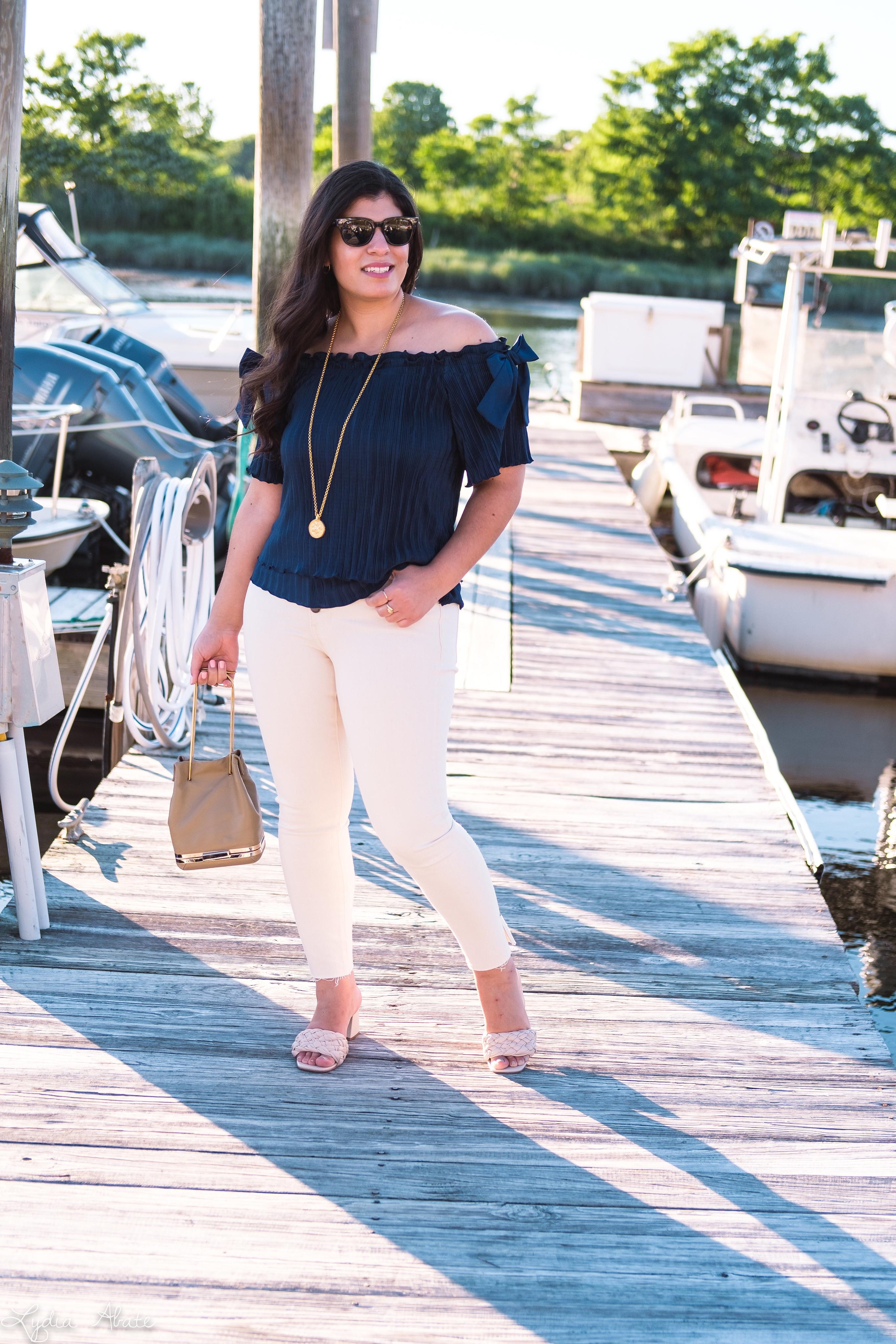 navy off the shoulder top, cream jeans, woven sandals-6.jpg