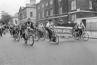 Cyclists protest, Whitehall, Westminster, 1990, 90-11c-14
