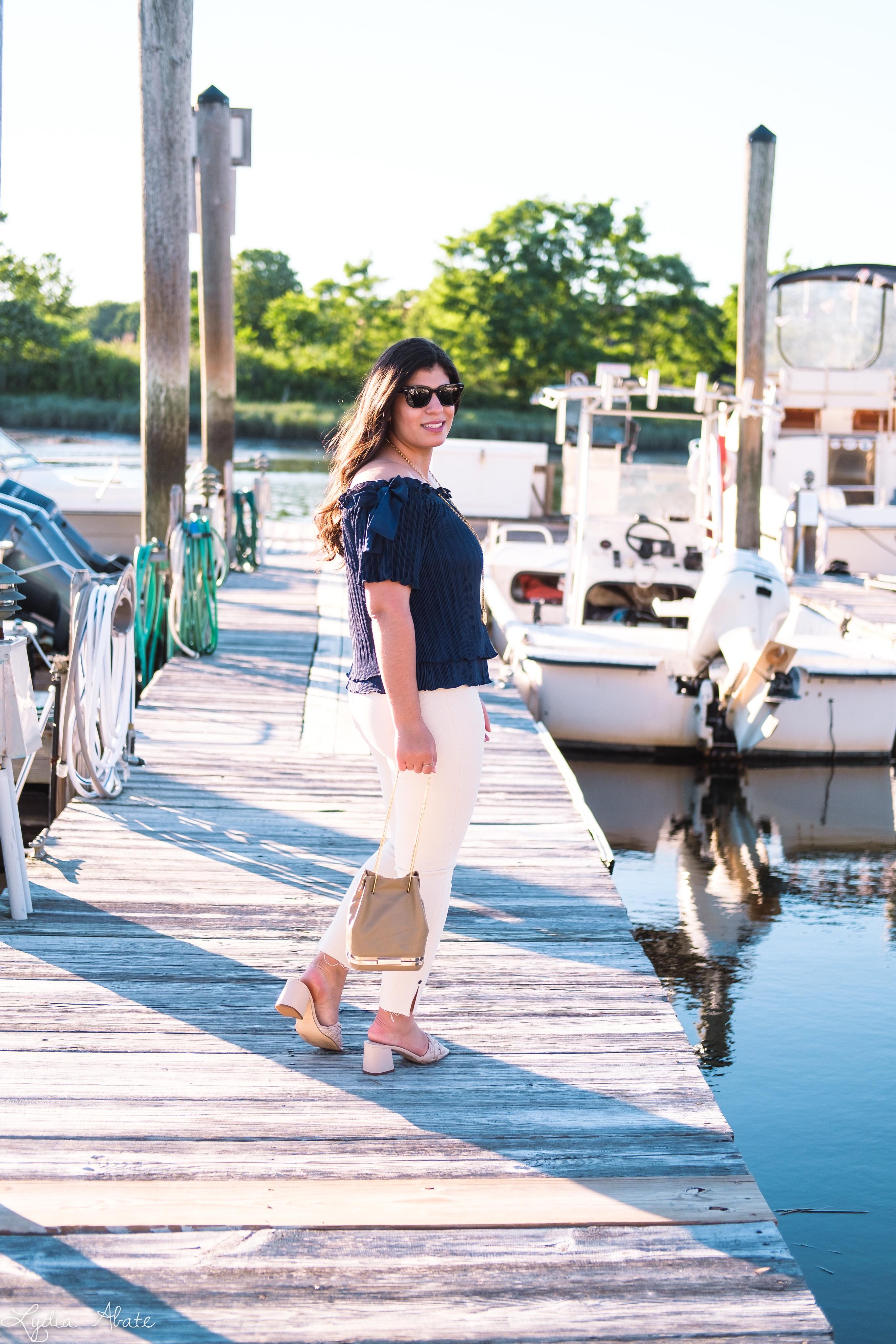 navy off the shoulder top, cream jeans, woven sandals-5.jpg
