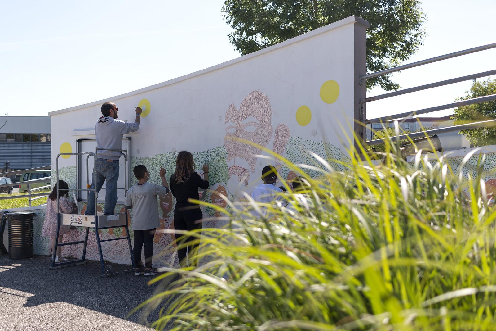 Fresque école Van Gogh avec Mauro Ceballos