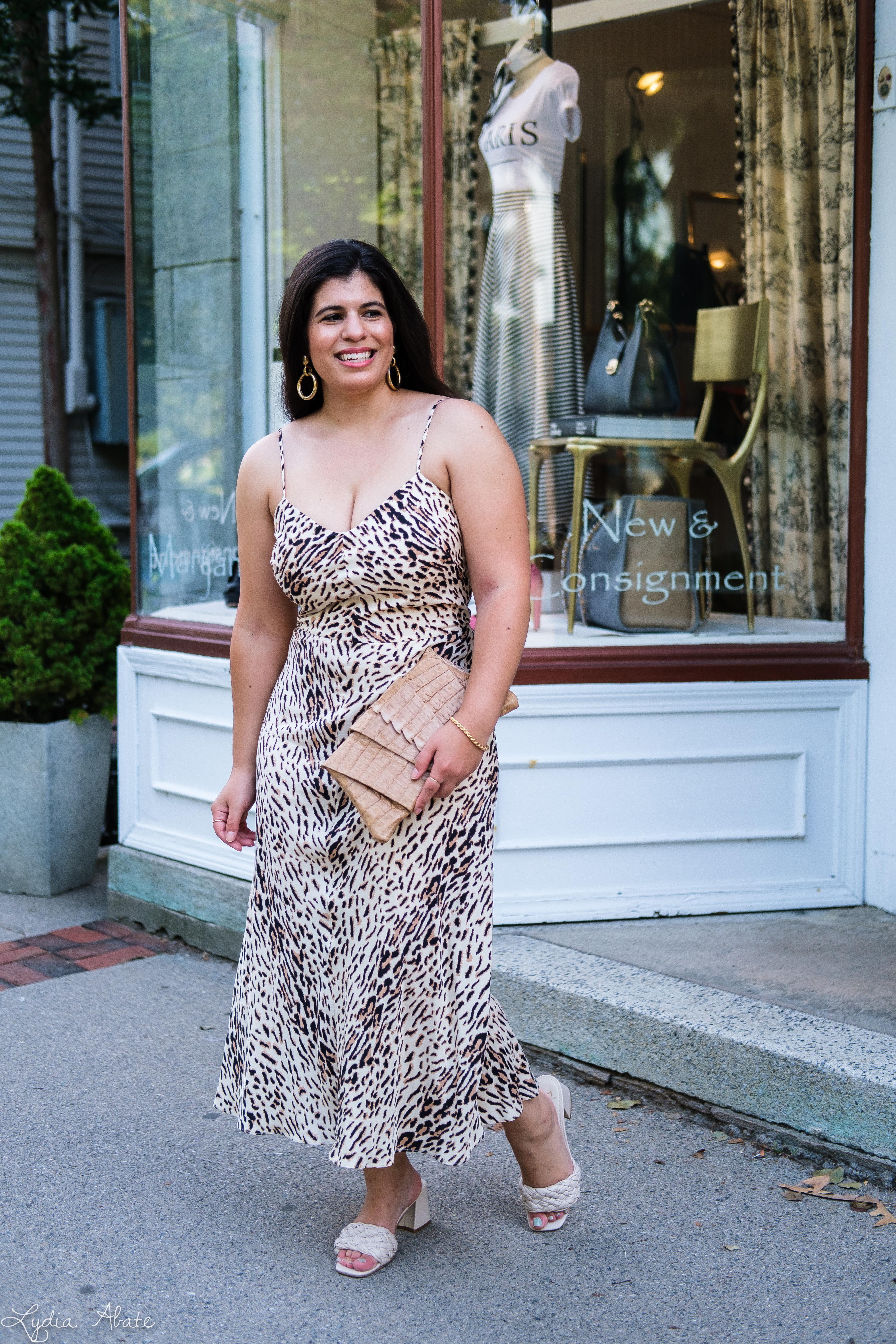 leopard print slip dress, woven slide sandals, Juliette Jake reptile wrap clutch-2.jpg
