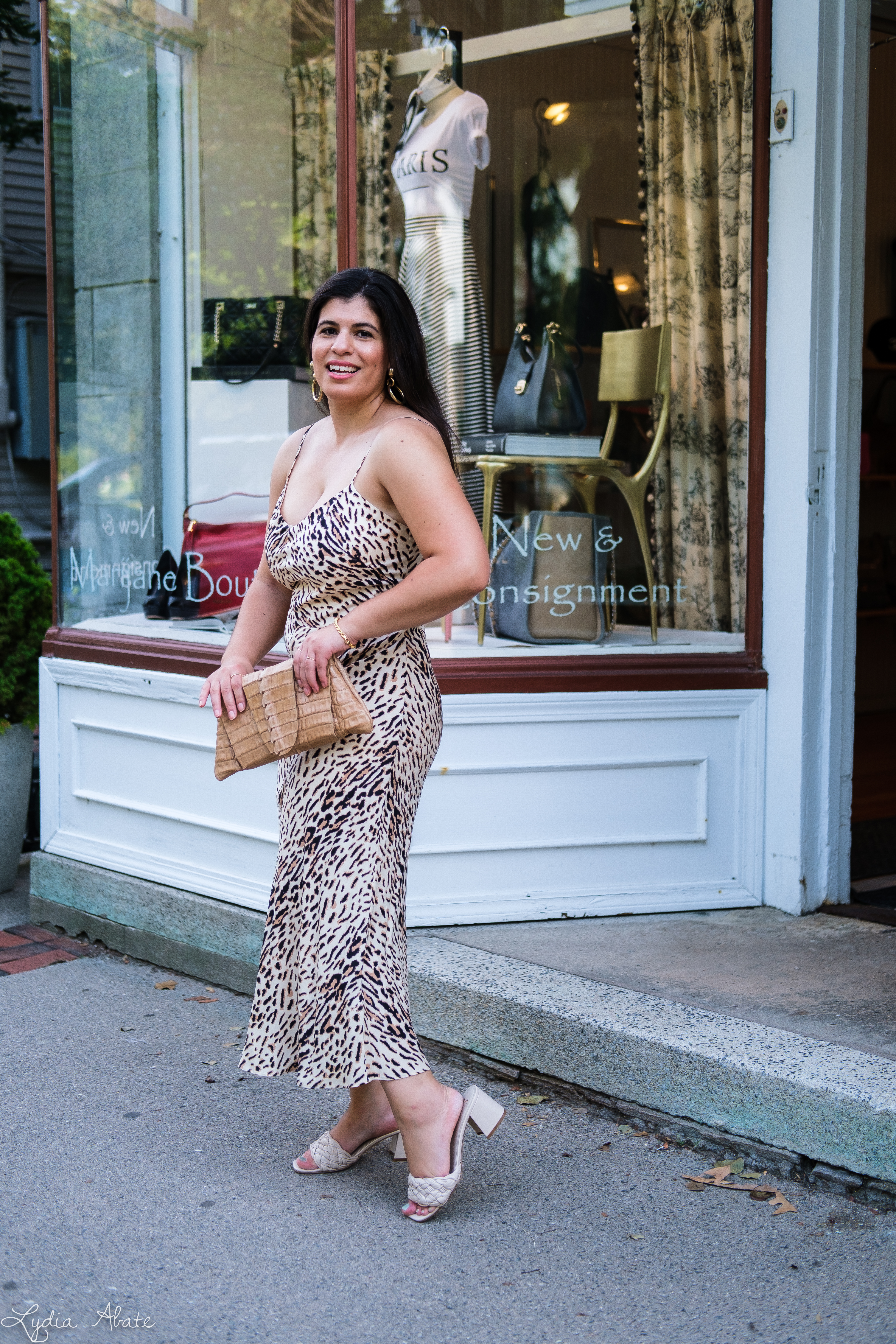 leopard print slip dress, woven slide sandals, Juliette Jake reptile wrap clutch-5.jpg