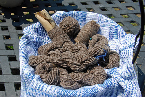 A wire basket is covered with a handwoven blue and white twill tea towel and holds small skeins of handspun Olde English Babydoll Southdown yarn.  Behind the twisted skeins are two wound lengths of singles, and in between is a hand-wound ball of yarn.  The yarn is all medium brown with flecks of white and a red cast.  The basket is on a faux lattice cast aluminum black table.