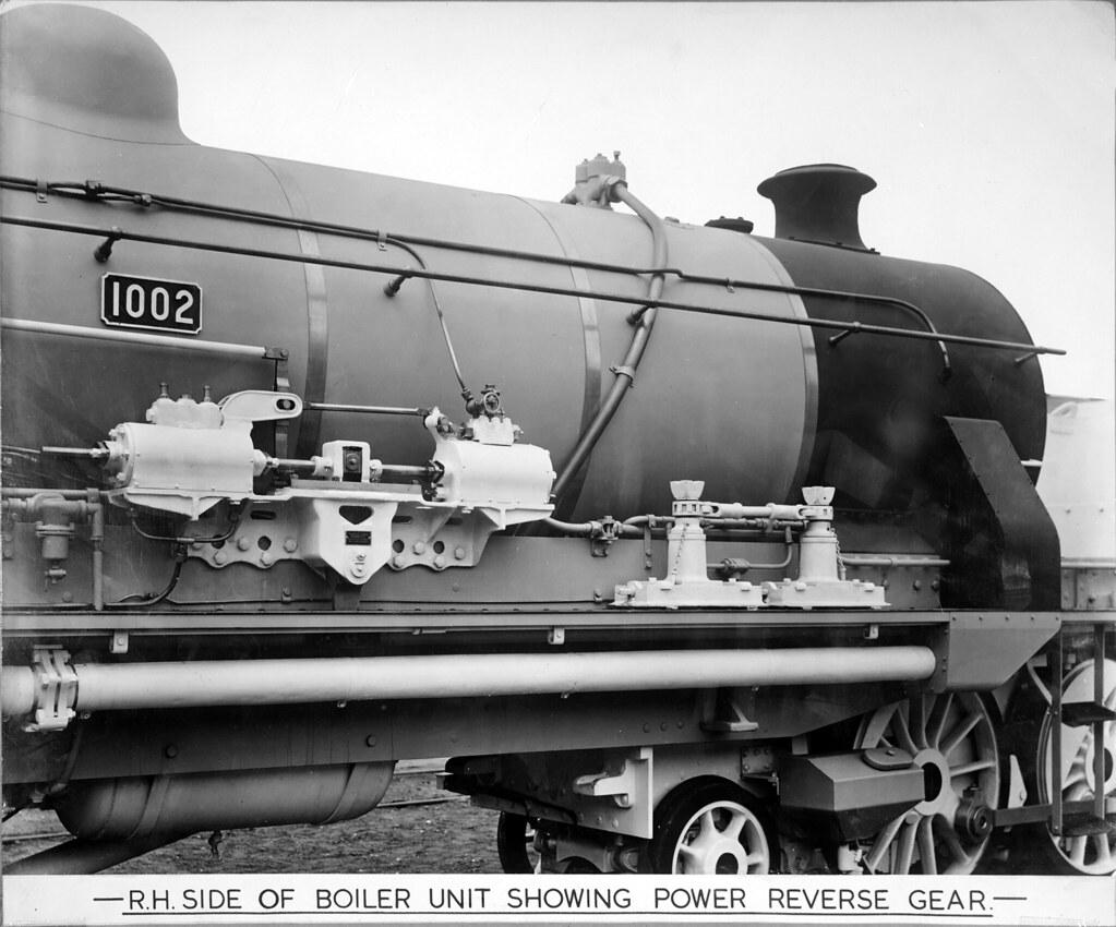 ITM3580069 LOCO BEYER GARRATT No 1002 RH SIDE OF BOILER UNIT SHOWING POWER REVERSE GEAR-3 Dept No.QSA0611 X1759 no 1620 by Queensland State Archives