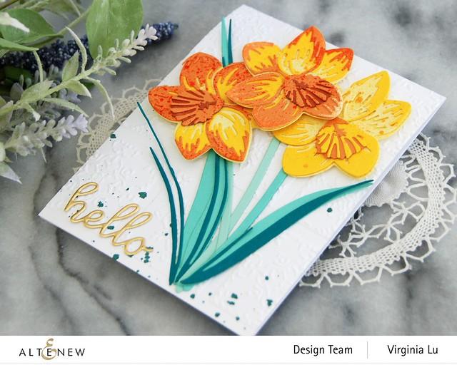Altenew-CAF Daffodil-DreamTiles 3D Embossing Folder-All AboutYou Word Die Set-SummerAfternoonGradientCardstock-Seashore Gradient Cardstock -003