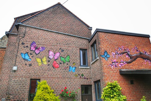 colorful butterflies and a branch with cherry blossom, beautiful mural in Kessel-Lo