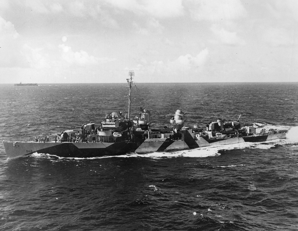 USS Morrison (DD-560) underway, seen from the USS Gambier Bay (CVE-73) Off Okinawa March 1945.