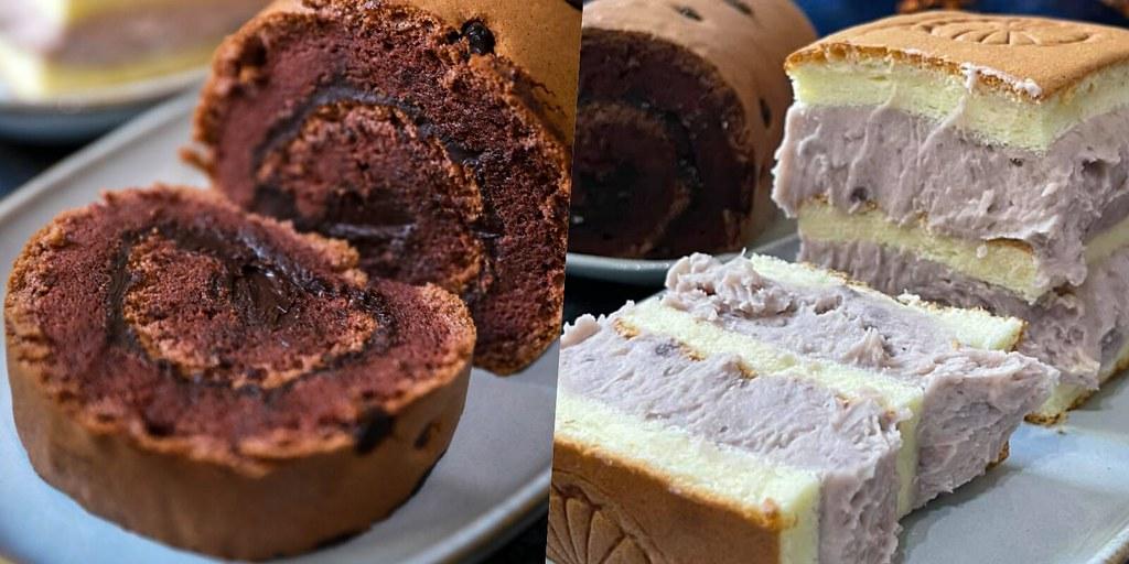 爆陷浮誇芋泥蛋糕好好吃!巧克力豆捲也推薦,只買半條吃不夠啊~網路推薦好吃的小鎮手工蛋糕