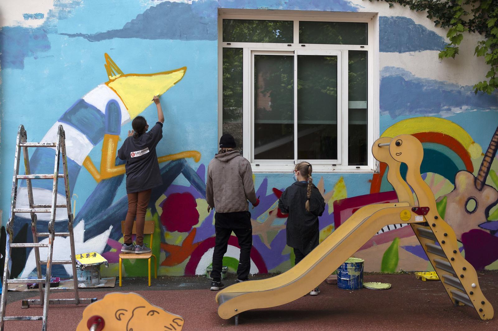 Fresque David Selor à l'école des Cavailles