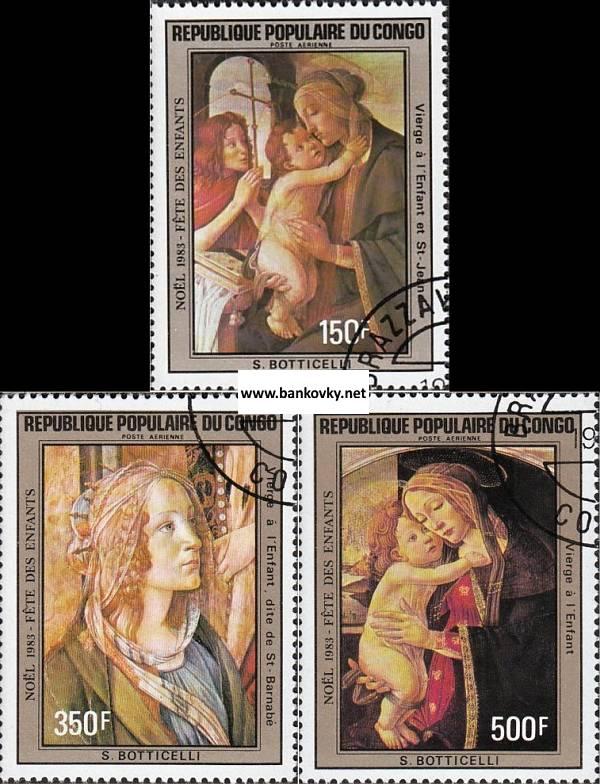 Známky Kongo (Brazzaville) 1984 Boticelli razítkovaná séria