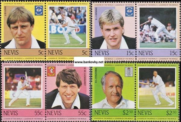 Známky Nevis 1984 Hráči kriketu MNH
