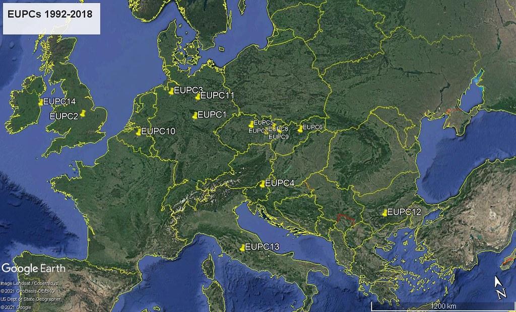 Map of previous EUPCs